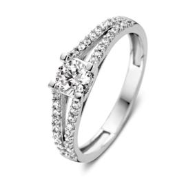 Excellent Jewelry Witgouden Gespleten Ring met Zirkonia's