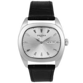 Prisma Heren Horloge met Zilverkleurige Wijzerplaat