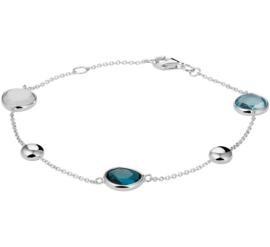 Witgouden Armband met Blauwe Edelstenen