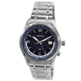 Modern Prisma Heren Horloge met Zwarte Wijzerplaat en Blauwe Rand