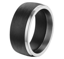 Carbon Ring met Gepolijste Edelstalen Rand / Maat 21