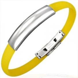 Geel rubberen armband met ID Plaatje