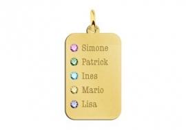 Gouden Dog Tag met Vijf Geboortestenen Names4ever