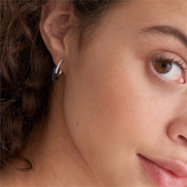 Ania Haie Bright Future Zilveren Creolen met Zirkonia's en Emaille