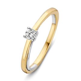 Excellent Jewelry Slanke Bicolor Ring met Solitaire Diamant