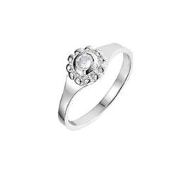 Zilveren Ring met Bolletjes Kopstuk en Kleurloze Zirkonia
