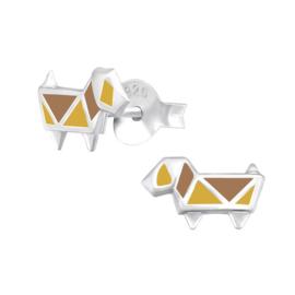 Zilveren Abstracte Hond Oorbellen met Gele en Bruine Emaille