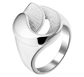 Zilveren Dames ring met Gescratcht Opengewerkt Kopstuk