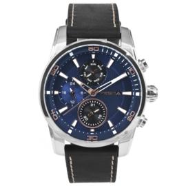Prisma Heren Horloge van Edelstaal met Blauwe Elementen