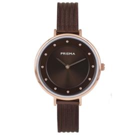 Prisma Roségoudkleurig Dames Horloge met Bruine Milanese Horlogeband