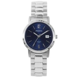 Zilverkleurig Dames Horloge van Prisma met Blauwe Wijzerplaat