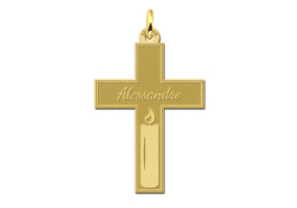 Names4ever Gouden Communie Kruis met Gravure en Kaars