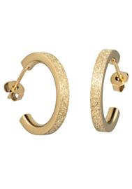 Goudkleurige Oorstekers met Driekwart Gediamanteerde Cirkel van M&M