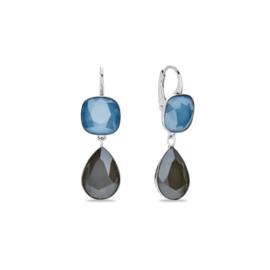 Midnight Tear Hangoorbellen met Blauwe en Grijze Swarovski Kristallen van Spark