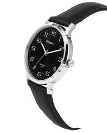Zilverkleurig Heren Horloge met Zwarte Wijzerplaat en Horlogeband