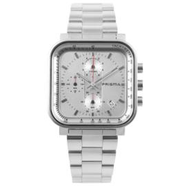 Zilverkleurig Vierkant Prisma Heren Horloge met Modern Ontwerp
