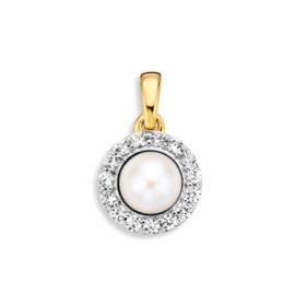 Excellent Jewelry Bicolor Zirkonia Hanger met Zoetwaterparel