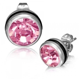 Pink oorbellen + rubberen ringetje SKU68483