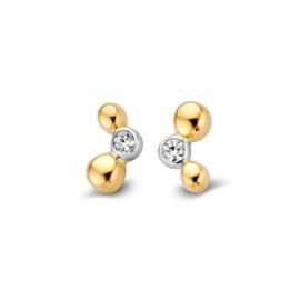 Excellent Jewelry Bicolor Bolletjes Oorstekers met Zirkonia