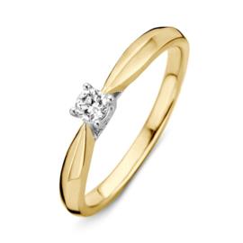 Excellent Jewelry Bicolor Ring met Vernauwing en 0,15 crt. Briljant