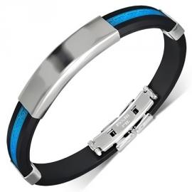 Rubberen armband Blauw met ID Plaatje