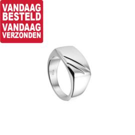 Zilveren Ring met Diagonale Lijnen / Maat 19