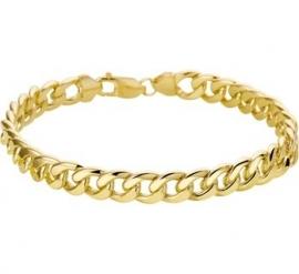 Luxueuze Gouden Schakelarmband met Zilveren Kern