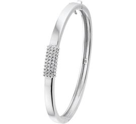 Bangle armband van Zilver met Scharniersluiting en Zirkonia's