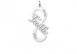 Names4ever Faith Infinity Hanger van Zilver - Graveer Sieraad