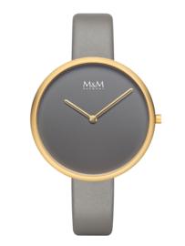 M&M Horloge met Goudkleurige Kast en Grijze Wijzerplaat