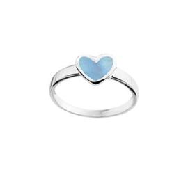 Ring voor Kinderen met Zilveren Hartje met Blauwe Parelmoer