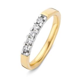 Excellent Jewelry Slanke Gouden Dames Ring met Witgouden Diamant Kopstuk