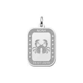 Rechthoekige Kreeft Sterrenbeeld Hanger van Zilver
