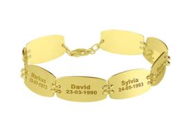 Names4ever Gouden Naamarmband met Acht Graveerplaatjes GNA60