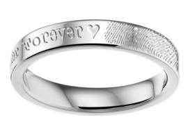 Stalen Vingerafdruk Ring + Naam van Names4ever