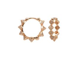 Roségoudkleurige Oorringen met Diamant Spikes 15MM | Karma Jewelry