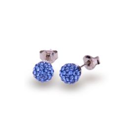 Felblauwe Pavé Swarovski Oorstekers van Spark Jewelry