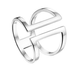 Brede Opengewerkte Vlakke Ring van Gepolijst Zilver