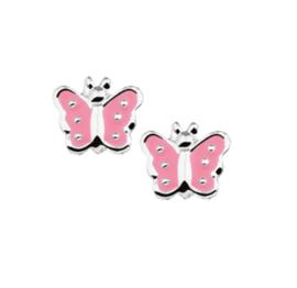Zilveren Vlinder Oorknoppen met Roze Emaille