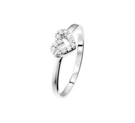 Ring van Zilver met Opengewerkt Zirkonia Hart