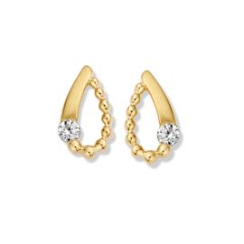 Excellent Jewelry Geelgouden Oorstekers met Bolletjes en Zirkonia