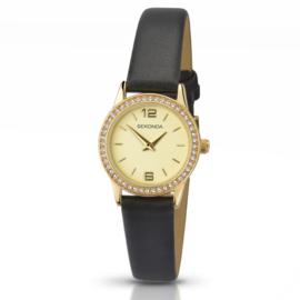Sekonda Goudkleurig Dames Horloge met Kleurloze Zirkonia's