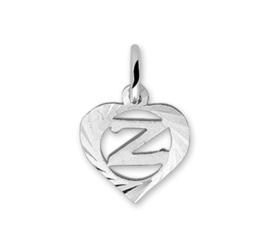 Hartvormige Zilveren Letter Z-Bedel