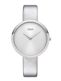 Zilverkleurig M&M Dames Horloge met Witte Horlogeband