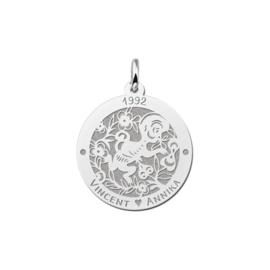 Ronde Chinese Sterrenbeeld Aap Hanger van Zilver