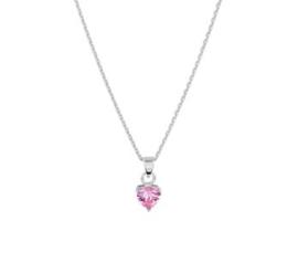 Zilveren Collier met Hartvormige Roze Zirkonia