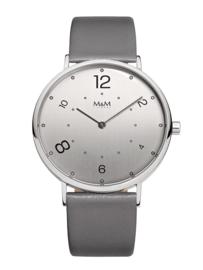 Zilverkleurig Modern Basic Unisex Horloge met Grijze Band van M&M