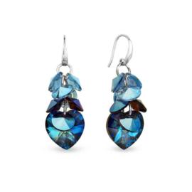 Spark Carino Zilveren Oorhangers met Blauwe Glaskristallen