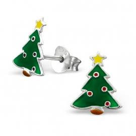 Kerstboom Oorbellen van Zilver