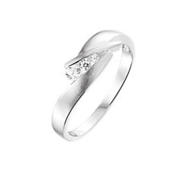 Gepolijste met Matte Zilveren Zirkonia Ring